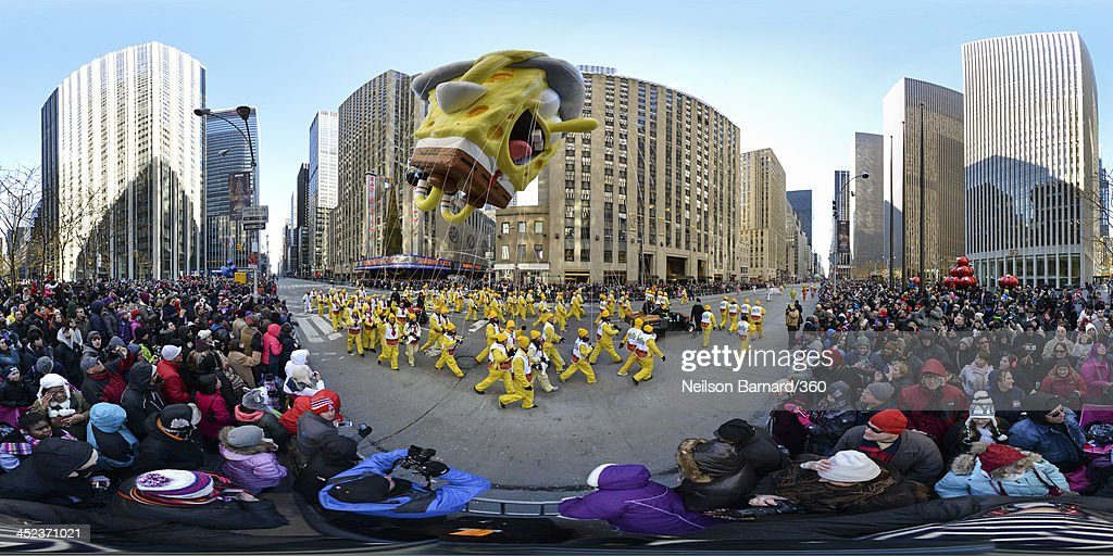 A SpongeBob Squarepants balloon makes his way down Avenue of the Americas during the 87th Macy's Thanksgiving Day Parade on November 28, 2013 in New York City.