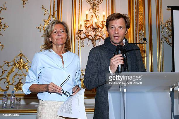 Sponsor and Host of the event Claire Chazal of France 5 and Host of the event Laurent Delahousse present 'La Flamme Marie Claire' 7th Edition Press...
