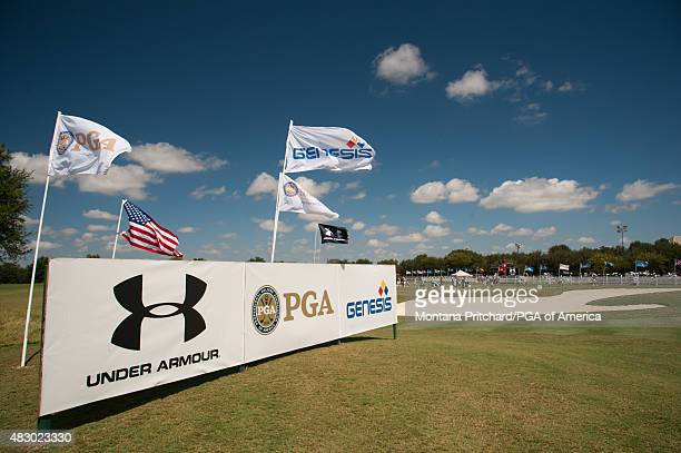 Sponsor banners on the practice range during Round Three of the 40th PGA Junior Championship at The Miramont Country Club on August 5 2015 in...