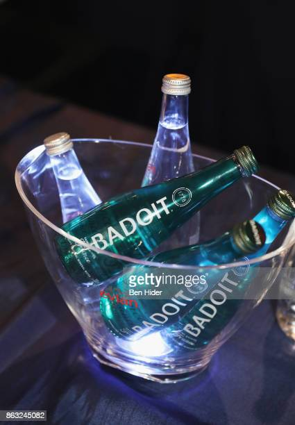 Sponsor Evian water bottles are seen during City Harvest's 23rd Annual BID at Metropolitan Pavilion on October 19 2017 in New York City