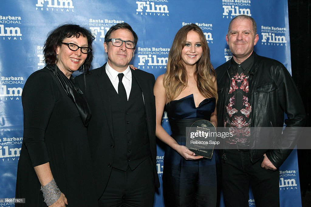 SBIFF sponsor Lynda Weinman, director David O. Russell, actress Jennifer Lawrence and SBIFF sponsor Bruce Heavin attend the 28th Santa Barbara International Film Festival Outstanding Performer Of The Year Presented To Jennifer Lawrence on February 2, 2013 in Santa Barbara, California.