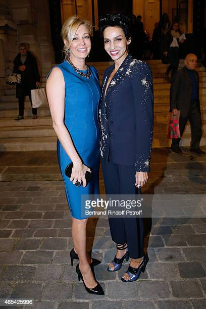 Sponsor of the Exhibition Nadja Swarovski and Farida Khelfa Seydoux attend the Jeanne Lanvin Retrospective Opening Ceremony at Palais Galliera on...