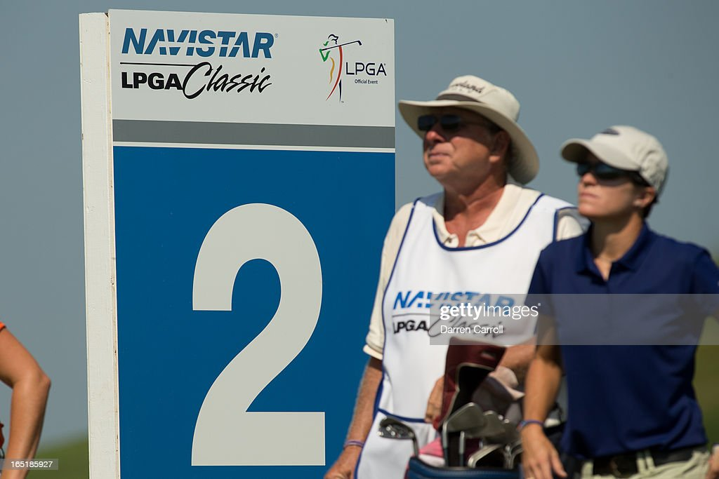 Sponsor signage at the second hole during the first round of the 2012 Navistar LPGA Classic at the Robert Trent Jones Golf Trail's Senator Course at...