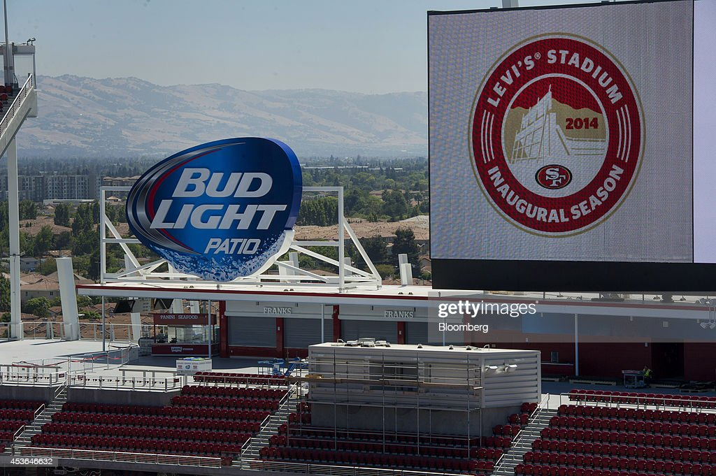 Sponsor signage is displayed at the new Levi's Stadium in Santa Clara California US on Wednesday Aug 13 2014 The stateoftheart facility home of the...