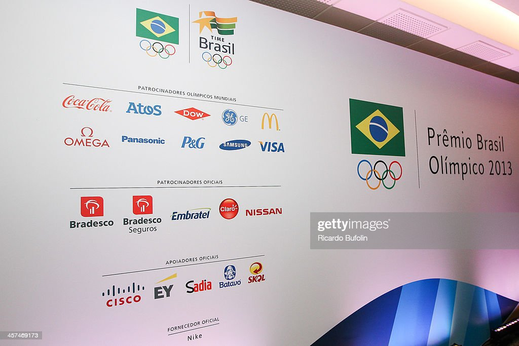 Sponsors banner on main floor of the Brazil Olympic Awards 2013 at Bradesco Theater on December 17 2013 in Sao Paulo Brazil