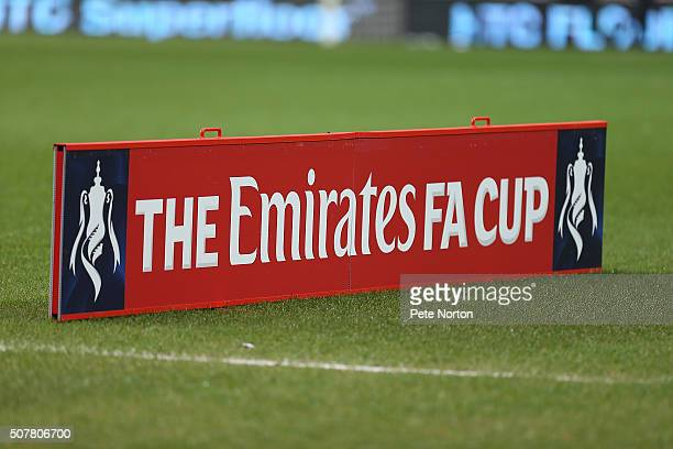 Sponsors signage is seen prior to The Emirates FA Cup Fourth Round match between Milton Keynes Dons and Chelsea at Stadium mk on January 31 2016 in...