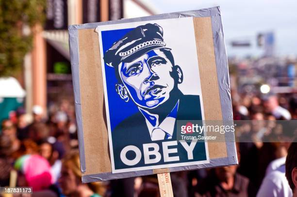 CONTENT] 'OBEY' spoof of famous Obama's 'HOPE' poster at the Folsom Street Fair The original 'HOPE' poster was designed by Shepard Fairey who also...