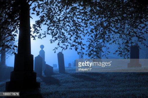 Spooky blue graveyard