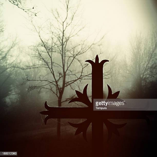 Spooky cross on a foggy morning _ Square