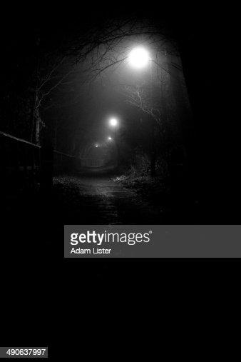 Spooky Foggy Footpath : Stock Photo