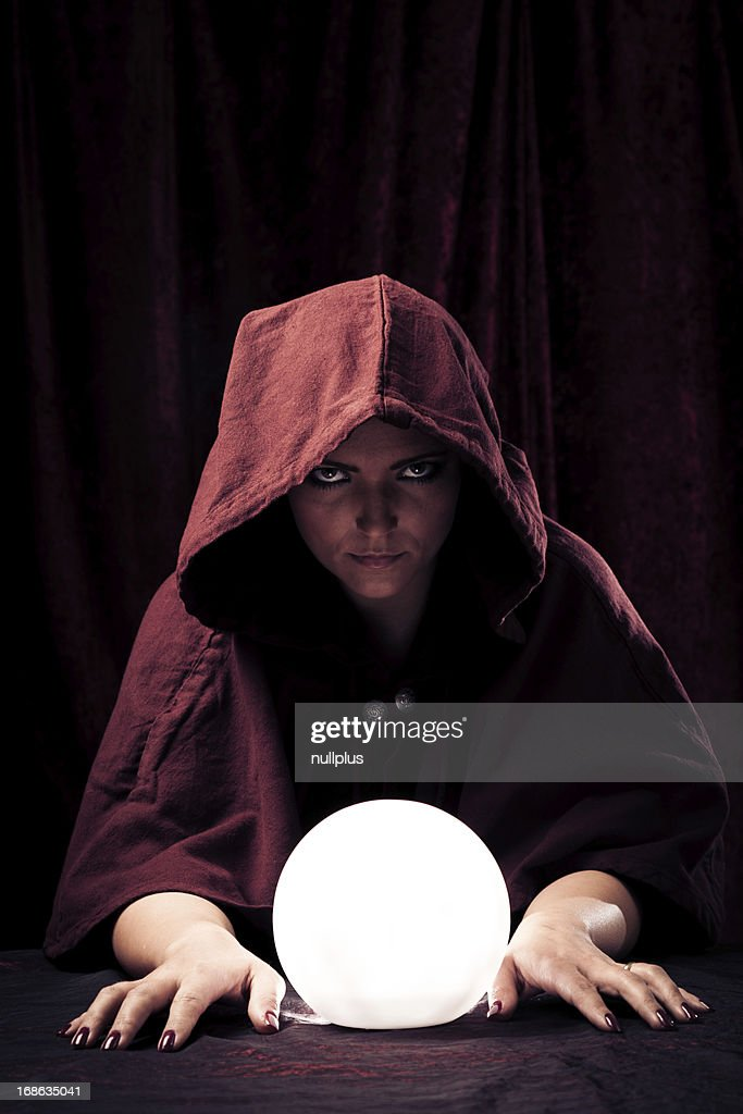 spooky fortune teller with crystal ball