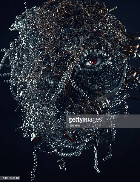 Spooky head made of scrap metal