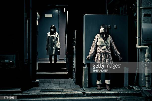 spooky scene in tokyo with two girls