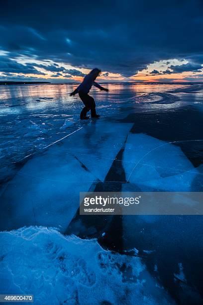Spooky walk across frozen Lake Superior at night
