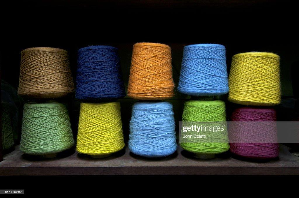 Spools Of Dyed Aplaca Yarn In El Alto, Bolivia : Stock Photo