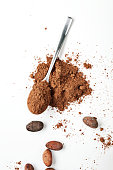Spoon Cocoa Powder and Cocoa Beans on the White Background