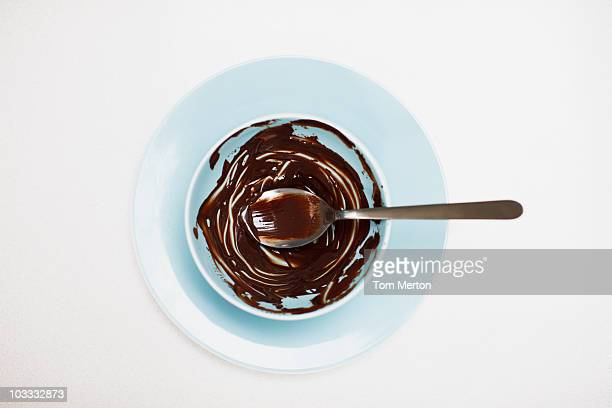 Spoon in bowl with remaining chocolate batter