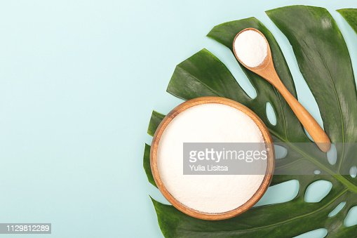 Spoon of powder collagen : Stock Photo