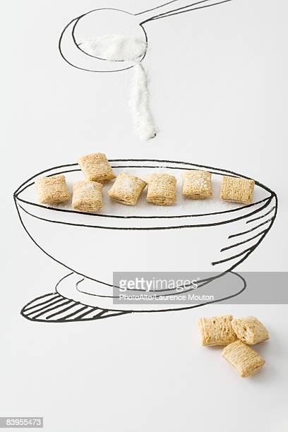 Spoon pouring sugar over bowl of cereal