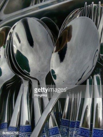 Colher de reflexos : Foto de stock