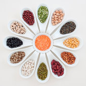 'Spoons with beans, lentils and peas'