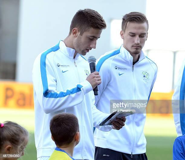 Sporar Andraz of Slovenia U21 before the 2017 UEFA European U21 Championships Qualifier between Italy U21 and Slovenia U21 at Mapei Stadium Citta del...