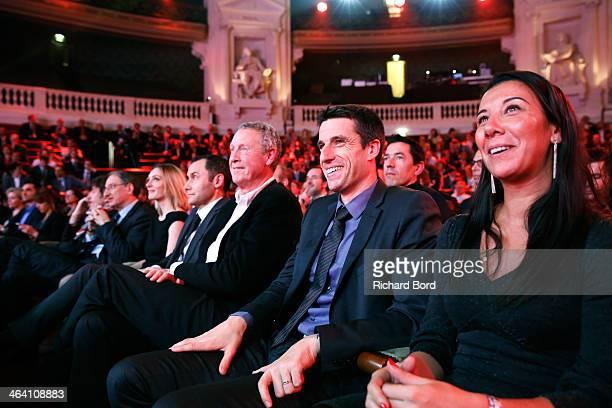 Sporsora President Laurent Damiani IOC member Guy Drut Olympic athletes Tony Estanguet and Isabelle Severino attend the 'Trophees Sporsora Du...