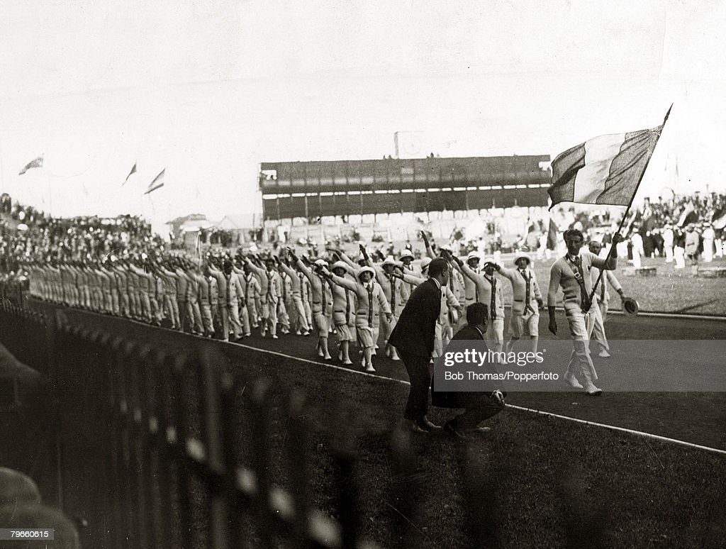Sport, 1924 Olympic Games, Paris, France, The Opening Ceremony as the French team behind the Tricolor, march past the Grandstand