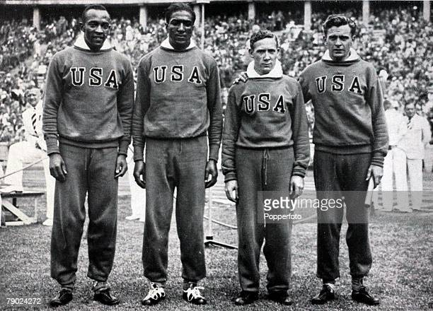 Sport 1936 Olympic Games Berlin Germany Athletics Mens 4 x100 metres relay The Gold medal winning USA team LR Jesse Owens Ralph Metcalfe Foy Draper...