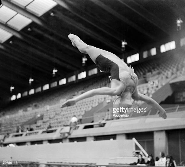 Sport 1948 London Olympic Games 24th July 1948 American diver Zoe Ann Olsen practices at the Empire Pool Wembley prior to the start of the Games