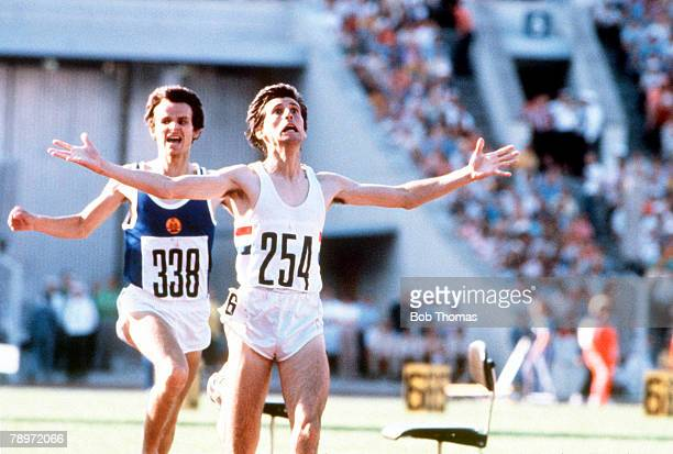 Sport 1980 Olympic Games Moscow USSR Men's 1500 Metres Great Britain's gold medal winner Sebastian Coe has his arms outstretched as he crosses the...