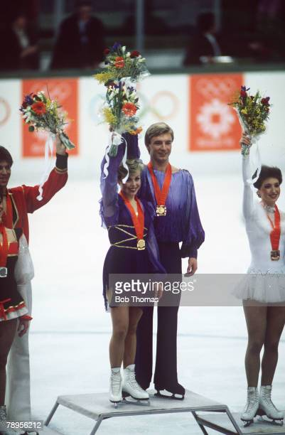 Sport 1984 Winter Olympic Games Sarajevo YugoslaviaIce Skating Ice Dance Great Britain's Jayne Torvill and Christopher Dean the Gold medal winners...