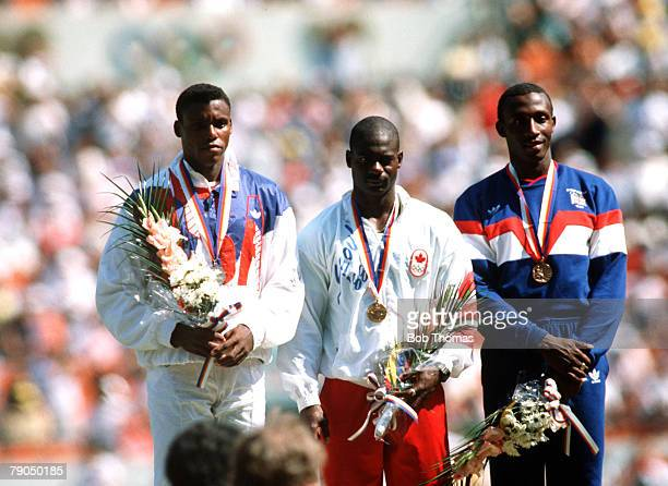 Sport 1988 Olympic Games Seoul South Korea 24th September 1988 Athletics Men's 100 Metres Final Canadian gold medal winner Ben Johnson stands on the...