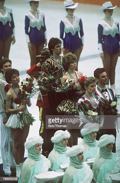 Sport 1988 Winter Olympic Games Calgary Canada Ice Skating Ice Dance Medal Ceremony Leftright Marina Klimova and Sergei Ponomarenko USSR Natalia...