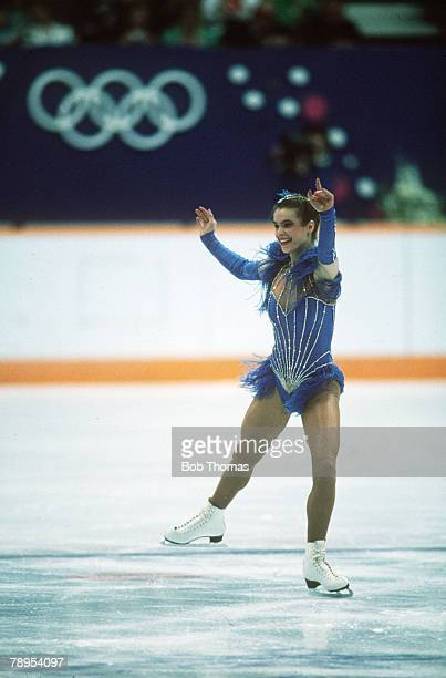 Sport 1988 Winter Olympic Games Calgary Canada Ladies Figure Skating Katarina Witt East Germany the Gold medal winner