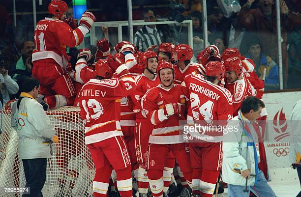 Sport 1992 Winter Olympic Games Albertville France Ice Hockey Final Unified Team 3 v Canada 1 Unified Team celebrate their success
