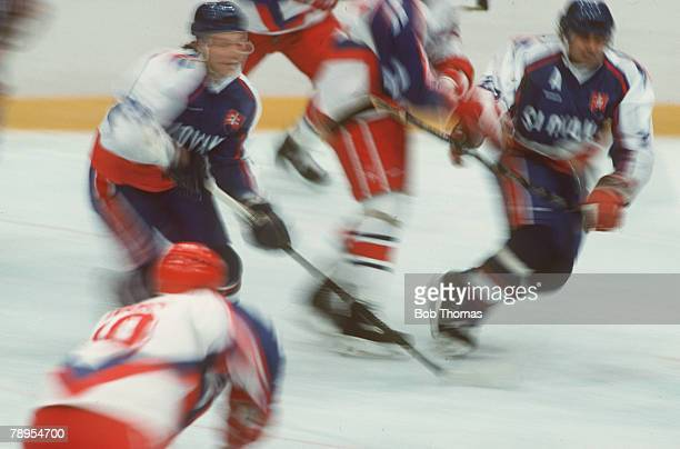 Sport 1992 Winter Olympic Games Albertville France Ice Hockey Unified Team 2 v Czechoslovakia 3 A special effect blurred image