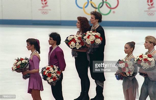 Sport 1992 Winter Olympic Games Albertville France Ice Skating Ice Dance Medal Ceremony Leftright Isabelle DuchesnayDean Paul Duchesnay France Maria...