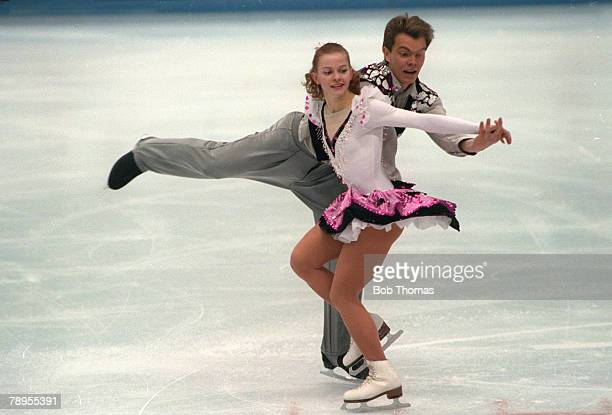 Sport 1992 Winter Olympic Games Albertville France Ice Skating Pairs Elena Betchke and Denis Petrov Unified Team the Silver medal winner