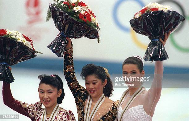 Sport 1992 Winter Olympic Games Albertville France Ice Skating Womens Figure Skating Medal ceremony lr Midori Ito Japan Kristi Yamaguchi USA Nancy...