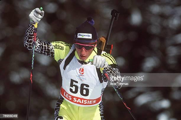 Sport 1992 Winter Olympic Games Albertville France Mens 20 Km Biathlon Janez Ozbolt Slovenia