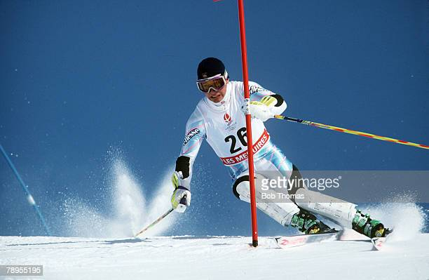 Sport 1992 Winter Olympic Games Albertville France Skiing Mens Slalom Kjetil Andre Aamodt Norway
