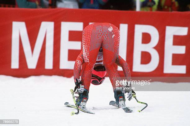 Sport 1992 Winter Olympic Games Albertville France Skiing Womens Downhill Switzerland's Heidi Zurbriggen is disappointed after a slow time