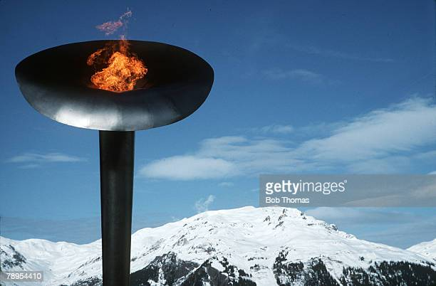 Sport 1992 Winter Olympic Games Albertville France The Olympic flame burns over the French Alps