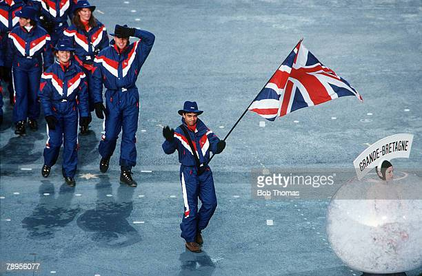 Sport 1992 Winter Olympic Games Albertville France The Opening Ceremony with Wilf O'Reilly carrying the flag for Great Britain
