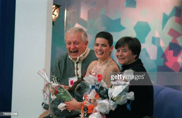 Sport 1994 Winter Olympic Games Lillehammer Norway Ice Skating Ladies Figure Skating Singles Nancy Kerrigan USA the Silver medal winner celebrating...