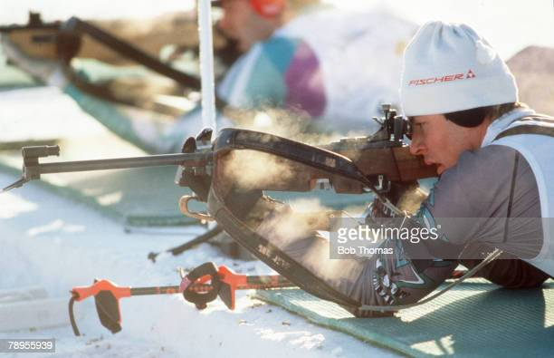 Sport 1994 Winter Olympic Games Lillehammer Norway Mens Biathlon A competitor takes aim with his rifle