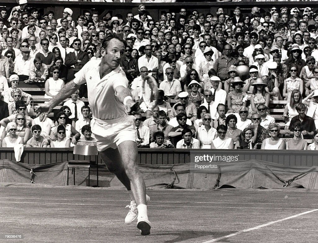 Sport, All England Lawn Tennis Championships, Wimbledon, London, England, 5th July 1969, Mens Singles Final, Rod Laver is pictured playing on Centre Court on his way to beating fellow Australian John Newcombe to claim his fourth Wimbledon Mens Singles title