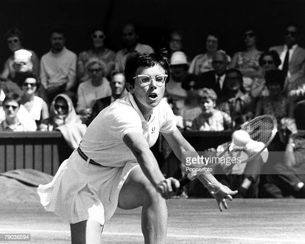 Sport All England Lawn Tennis Championships Wimbledon London England 5th July 1969 Ladies Singles Final USA's Billie Jean King is pictured in action...