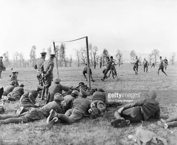 Sport and Leisure In The British Army During The First World War Officers verses other ranks football match played by members of the 26th Divisional...